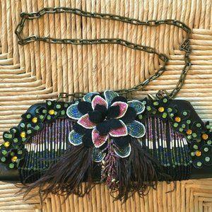Mary Frances Black Beaded Flower Feather Plume